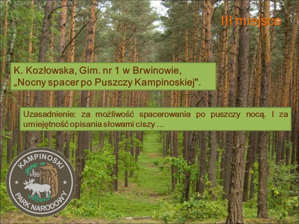 """III miejsce K. Kozłowska, Gim. nr 1 w Brwinowie, """"Nocny spacer po Puszczy Kampinoskiej ."""