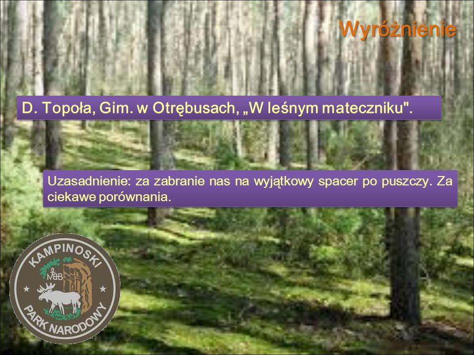"""Wyróżnienie D. Topoła, Gim. w Otrębusach, """"W leśnym mateczniku ."""
