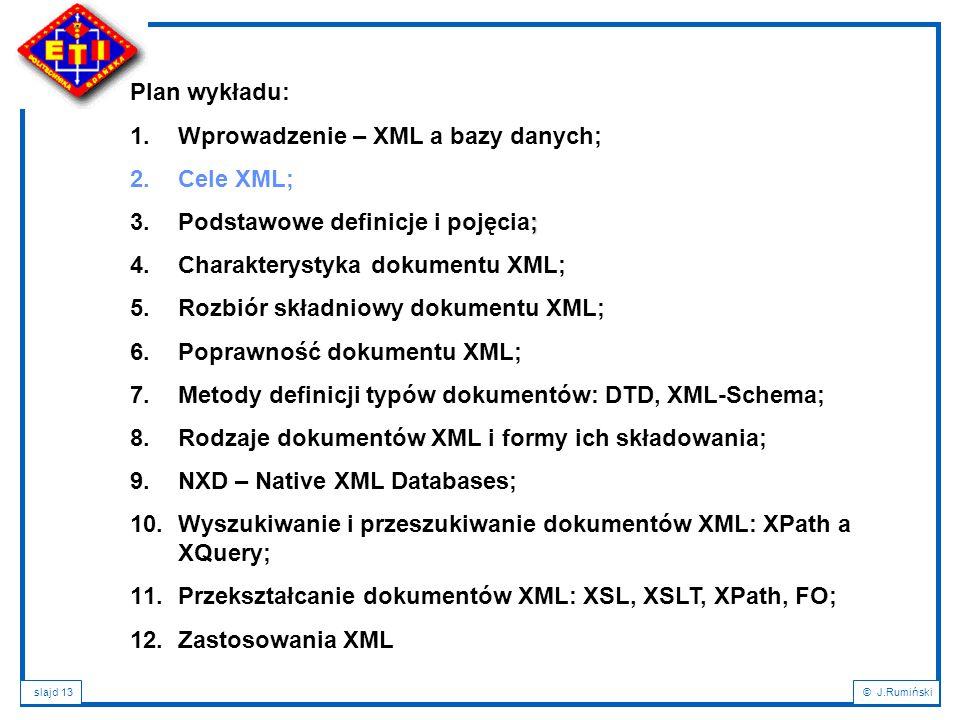slajd 13© J.Rumiński Plan wykładu: 1.Wprowadzenie – XML a bazy danych; 2.Cele XML; ; 3.Podstawowe definicje i pojęcia; 4.Charakterystyka dokumentu XML
