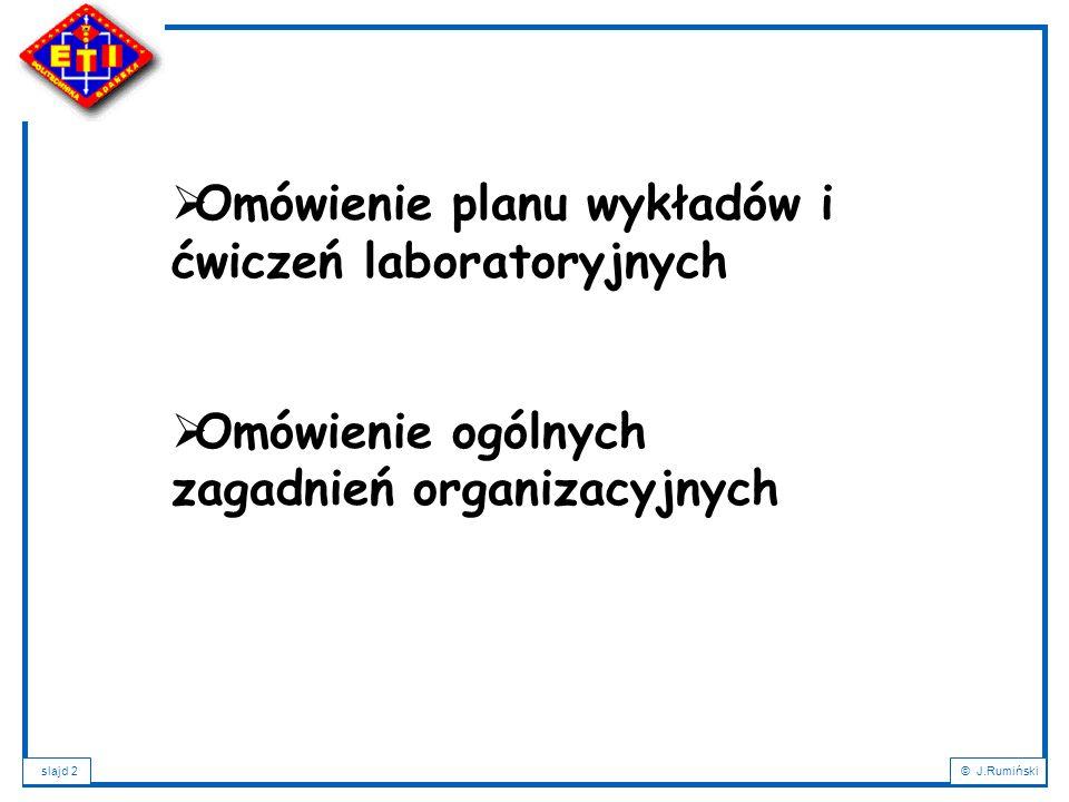 slajd 13© J.Rumiński Plan wykładu: 1.Wprowadzenie – XML a bazy danych; 2.Cele XML; ; 3.Podstawowe definicje i pojęcia; 4.Charakterystyka dokumentu XML; 5.Rozbiór składniowy dokumentu XML; 6.Poprawność dokumentu XML; 7.Metody definicji typów dokumentów: DTD, XML-Schema; 8.Rodzaje dokumentów XML i formy ich składowania; 9.NXD – Native XML Databases; 10.Wyszukiwanie i przeszukiwanie dokumentów XML: XPath a XQuery; 11.Przekształcanie dokumentów XML: XSL, XSLT, XPath, FO; 12.Zastosowania XML