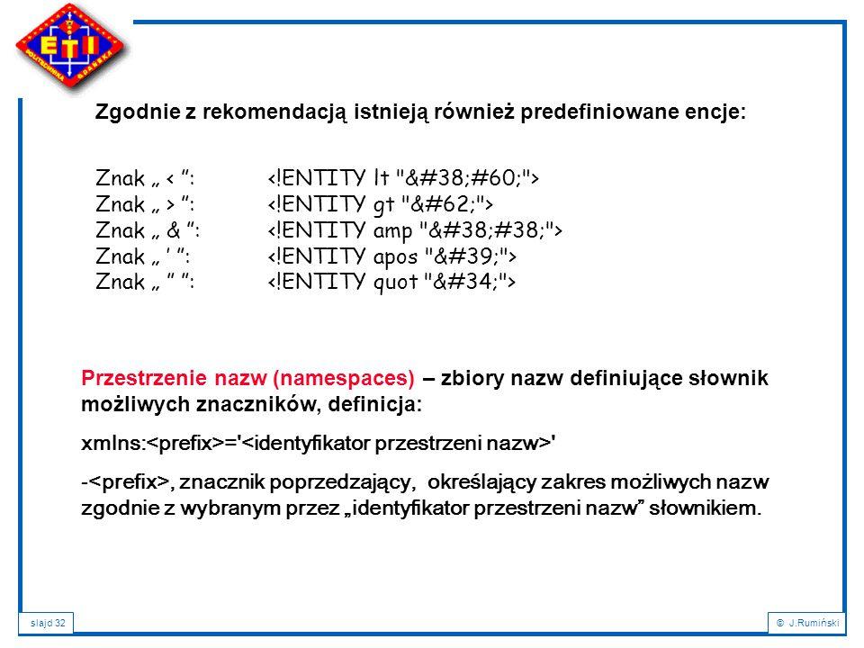 slajd 32© J.Rumiński Przestrzenie nazw (namespaces) – zbiory nazw definiujące słownik możliwych znaczników, definicja: xmlns: =' ' -, znacznik poprzed
