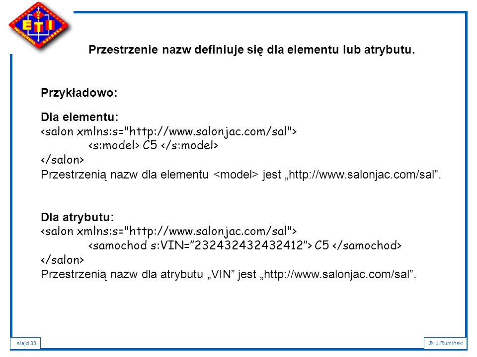 """slajd 33© J.Rumiński Dla elementu: C5 Przestrzenią nazw dla elementu jest """"http://www.salonjac.com/sal"""". Dla atrybutu: C5 Przestrzenią nazw dla atrybu"""