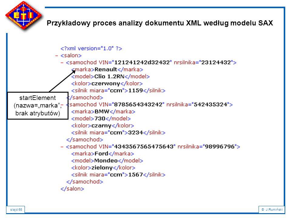 """slajd 56© J.Rumiński Przykładowy proces analizy dokumentu XML według modelu SAX startElement (nazwa=""""marka"""", brak atrybutów)"""