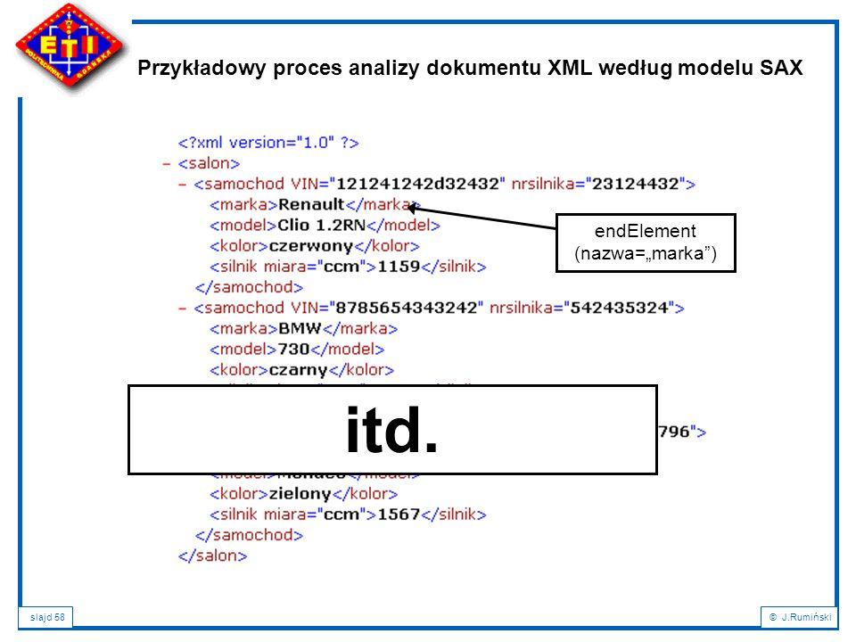 """slajd 58© J.Rumiński Przykładowy proces analizy dokumentu XML według modelu SAX endElement (nazwa=""""marka"""") itd."""