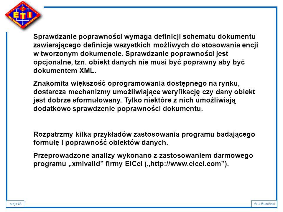 slajd 63© J.Rumiński Sprawdzanie poprawności wymaga definicji schematu dokumentu zawierającego definicje wszystkich możliwych do stosowania encji w tw