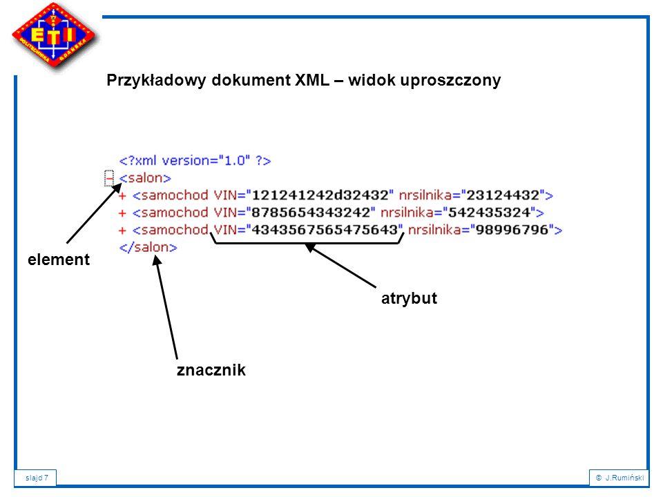 slajd 98© J.Rumiński Plan wykładu: 1.Wprowadzenie – XML a bazy danych; 2.Podstawowe definicje i pojęcia; 3.Cele XML; 4.Charakterystyka dokumentu XML; 5.Rozbiór składniowy dokumentu XML; 6.Poprawność dokumentu XML; 7.Metody definicji typów dokumentów: DTD, XML-Schema; 8.Rodzaje dokumentów XML i formy ich składowania; 9.NXD – Native XML Databases; 10.Wyszukiwanie i przeszukiwanie dokumentów XML: XPath a XQuery; 11.Przekształcanie dokumentów XML: XSL, XSLT, XPath, FO; 12.Zastosowania XML