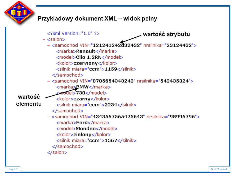 """slajd 99© J.Rumiński Zasadnicza składnia wyrażenia XPath opiera się o znaną ścieżkę dostępu w hierarchii systemu plików, np.: /sklep - oznacza główny element dokumentu (korzeń), /sklep/chleb- oznacza subelement """"chleb dokumentu, //napoj- oznacza wszystkie elementy """"napoj hierarchii, /sklep/*- oznacza wszystkie subelementy elementu """"sklep , /sklep/napoj[1]- oznacza pierwszego potomka subelementu """"napoj , /sklep/napoj[last()] – oznacza ostatniego (użycie funkcji) potomka subelementu """"napoj , //napoj[@cola]- oznacza atrybuty """"cola wszystkich elementów """"napoj , //napoj[not(@*)]- oznacza wszystkie elementy """"napoj bez atrybutow; //napoj[@cola='pepsi'] – oznacza wszystkie elementy """"napoj o wartości atrybutu cola równej """"pepsi XPath – rekomendacja W3C pozwalająca na definiowanie referencji (adresu) do encji."""