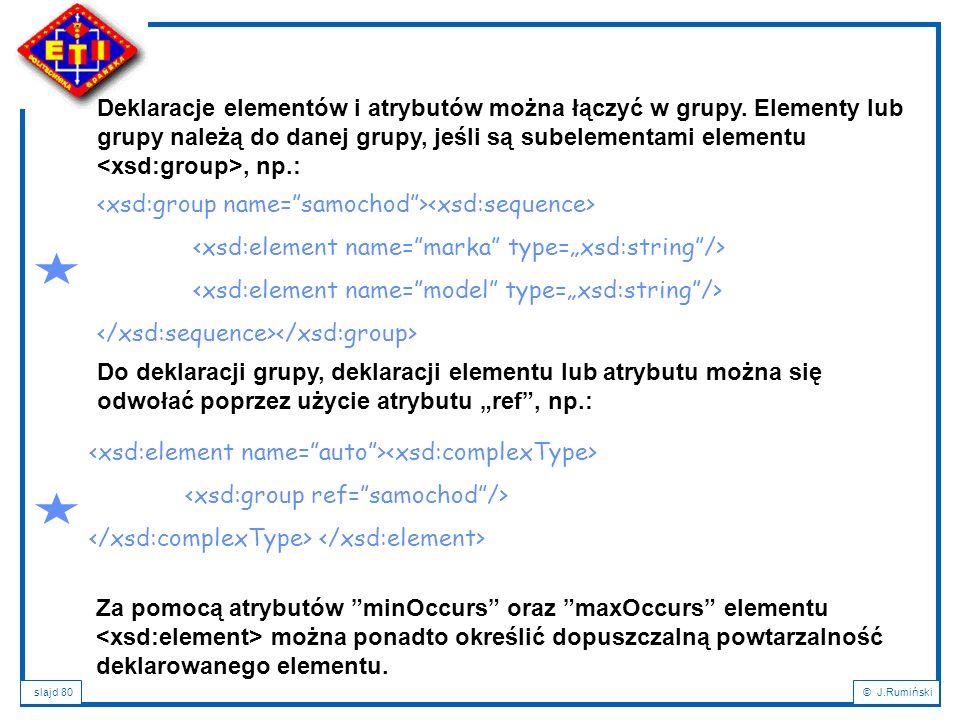 slajd 80© J.Rumiński Deklaracje elementów i atrybutów można łączyć w grupy. Elementy lub grupy należą do danej grupy, jeśli są subelementami elementu,