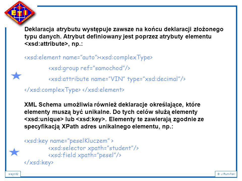 slajd 82© J.Rumiński Deklaracja atrybutu występuje zawsze na końcu deklaracji złożonego typu danych. Atrybut definiowany jest poprzez atrybuty element