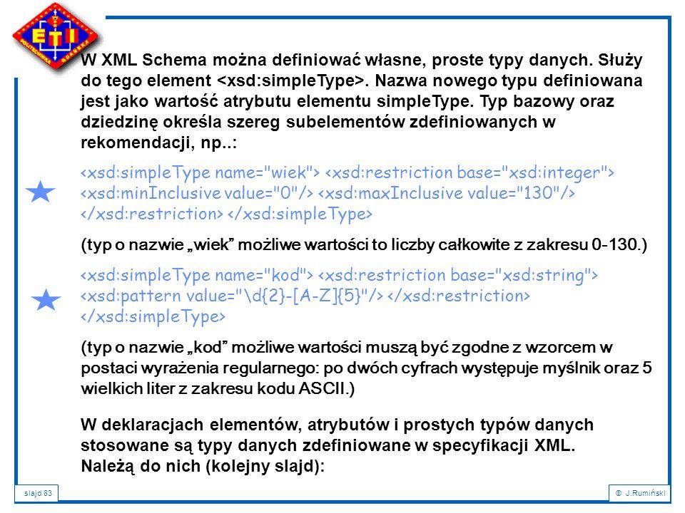 slajd 83© J.Rumiński W deklaracjach elementów, atrybutów i prostych typów danych stosowane są typy danych zdefiniowane w specyfikacji XML. Należą do n