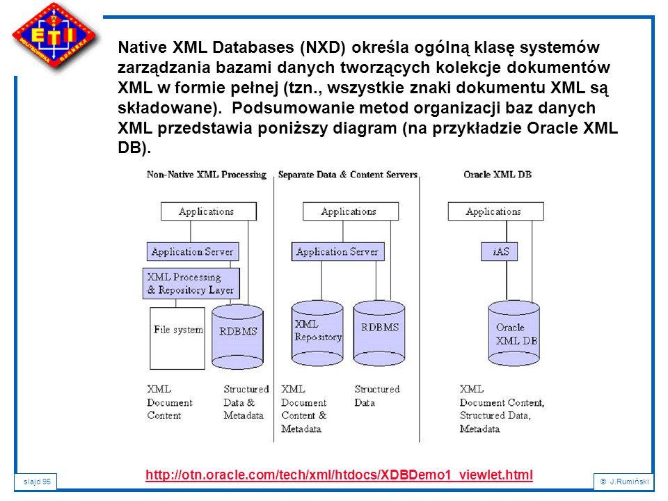 slajd 95© J.Rumiński Native XML Databases (NXD) określa ogólną klasę systemów zarządzania bazami danych tworzących kolekcje dokumentów XML w formie pe