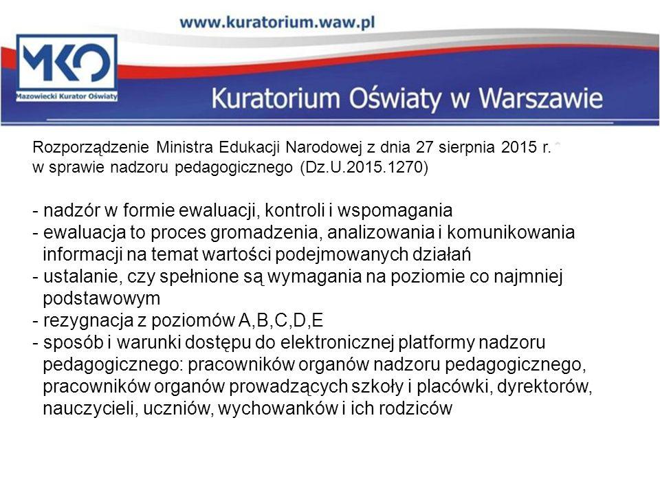 Rozporządzenie Ministra Edukacji Narodowej z dnia 27 sierpnia 2015 r. w sprawie nadzoru pedagogicznego (Dz.U.2015.1270) - nadzór w formie ewaluacji, k