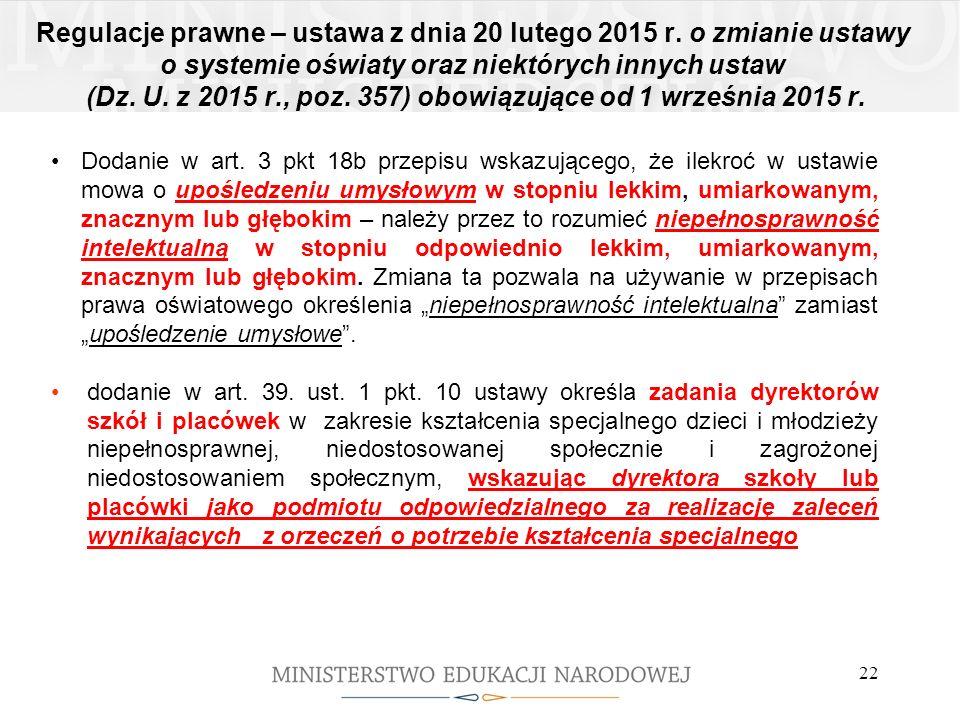 Regulacje prawne – ustawa z dnia 20 lutego 2015 r. o zmianie ustawy o systemie oświaty oraz niektórych innych ustaw (Dz. U. z 2015 r., poz. 357) obowi