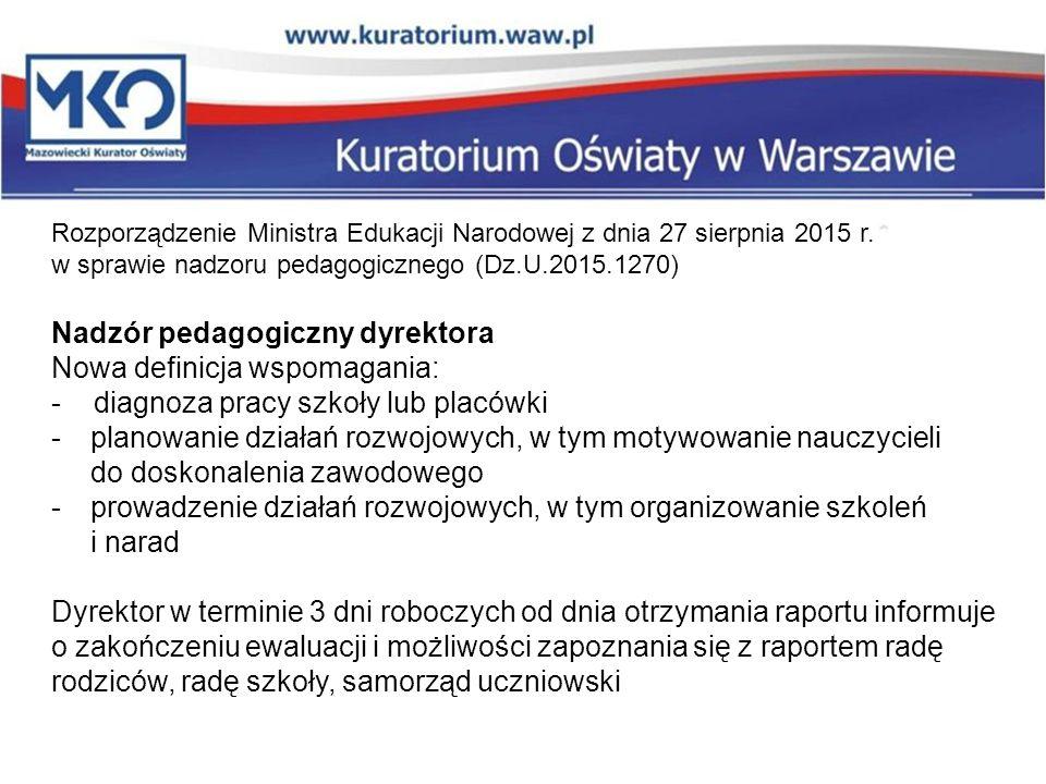 Rozporządzenie Ministra Edukacji Narodowej z dnia 27 sierpnia 2015 r. w sprawie nadzoru pedagogicznego (Dz.U.2015.1270) Nadzór pedagogiczny dyrektora