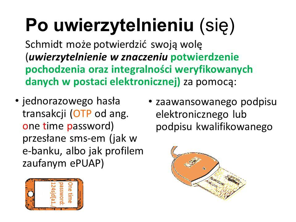 Po uwierzytelnieniu (się) Schmidt może potwierdzić swoją wolę (uwierzytelnienie w znaczeniu potwierdzenie pochodzenia oraz integralności weryfikowanych danych w postaci elektronicznej) za pomocą: jednorazowego hasła transakcji (OTP od ang.