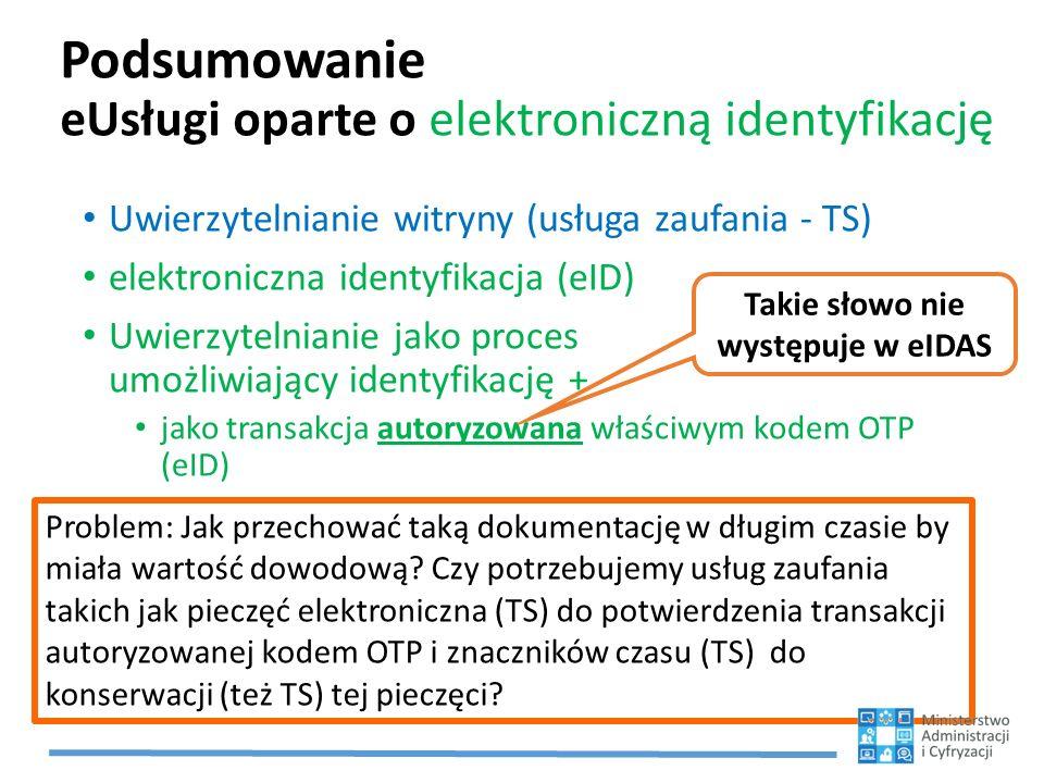 Podsumowanie eUsługi oparte o elektroniczną identyfikację Uwierzytelnianie witryny (usługa zaufania - TS) elektroniczna identyfikacja (eID) Uwierzytelnianie jako proces umożliwiający identyfikację + jako transakcja autoryzowana właściwym kodem OTP (eID) Problem: Jak przechować taką dokumentację w długim czasie by miała wartość dowodową.