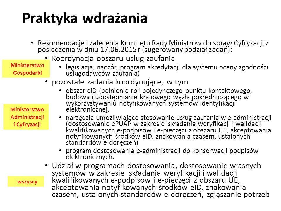 Praktyka wdrażania Rekomendacje i zalecenia Komitetu Rady Ministrów do spraw Cyfryzacji z posiedzenia w dniu 17.06.2015 r (sugerowany podział zadań): Koordynacja obszaru usług zaufania legislacja, nadzór, program akredytacji dla systemu oceny zgodności usługodawców zaufania) pozostałe zadania koordynujące, w tym obszar eID (pełnienie roli pojedynczego punktu kontaktowego, budowa i udostępnianie krajowego węzła pośredniczącego w wykorzystywaniu notyfikowanych systemów identyfikacji elektronicznej, narzędzia umożliwiające stosowanie usług zaufania w e-administracji (dostosowanie ePUAP w zakresie składania weryfikacji i walidacji kwalifikowanych e-podpisów i e-pieczęci z obszaru UE, akceptowania notyfikowanych środków eID, znakowania czasem, ustalonych standardów e-doręczeń) program dostosowania e-administracji do konserwacji podpisów elektronicznych.