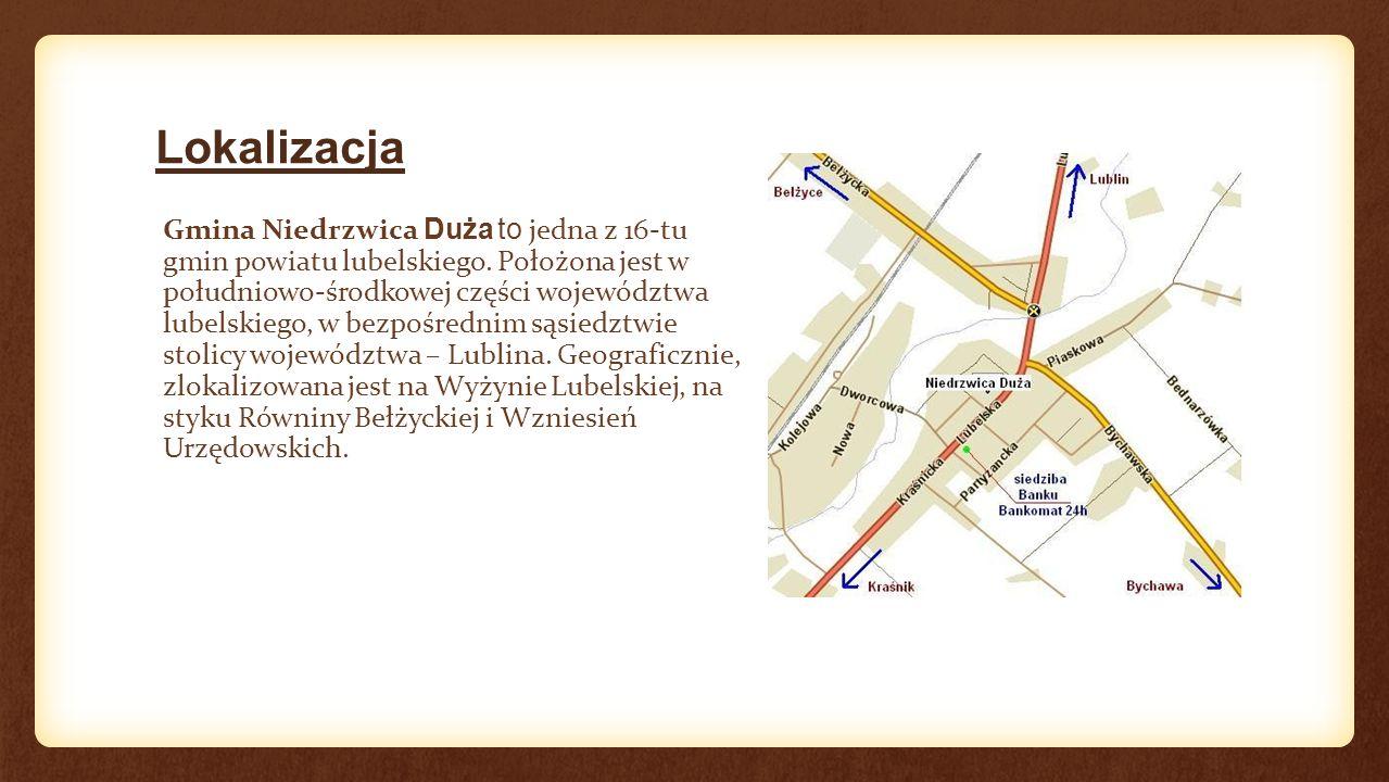 Lokalizacja Gmina Niedrzwica Duża to jedna z 16-tu gmin powiatu lubelskiego.
