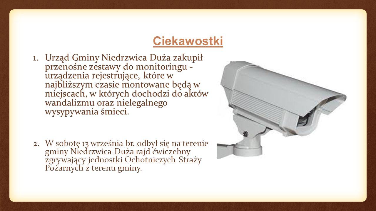 Ciekawostki 1.Urząd Gminy Niedrzwica Duża zakupił przenośne zestawy do monitoringu - urządzenia rejestrujące, które w najbliższym czasie montowane będą w miejscach, w których dochodzi do aktów wandalizmu oraz nielegalnego wysypywania śmieci.