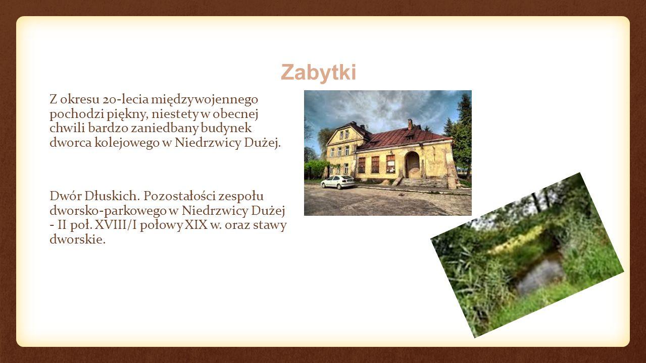 Zabytki Z okresu 20-lecia międzywojennego pochodzi piękny, niestety w obecnej chwili bardzo zaniedbany budynek dworca kolejowego w Niedrzwicy Dużej.