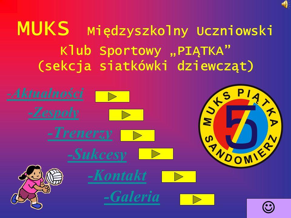 """MUKS Międzyszkolny Uczniowski Klub Sportowy """"PIĄTKA (sekcja siatkówki dziewcząt) -Aktualności -Aktualności -Zespoły -Trenerzy -Sukcesy -Kontakt -Galeria"""