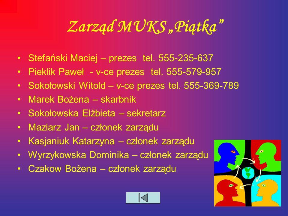 """Zarząd MUKS """"Piątka Stefański Maciej – prezes tel."""