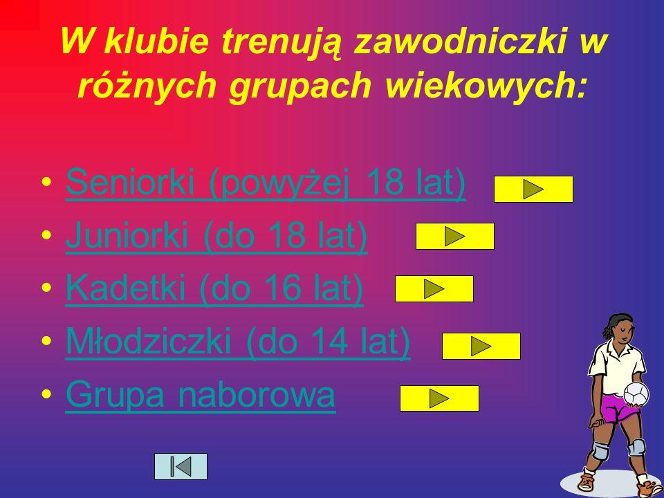 W klubie trenują zawodniczki w różnych grupach wiekowych: Seniorki (powyżej 18 lat) Juniorki (do 18 lat) Kadetki (do 16 lat) Młodziczki (do 14 lat) Grupa naborowa