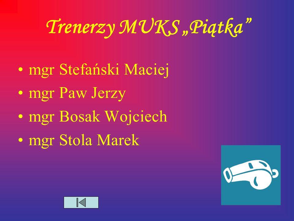 """Trenerzy MUKS """"Piątka mgr Stefański Maciej mgr Paw Jerzy mgr Bosak Wojciech mgr Stola Marek"""