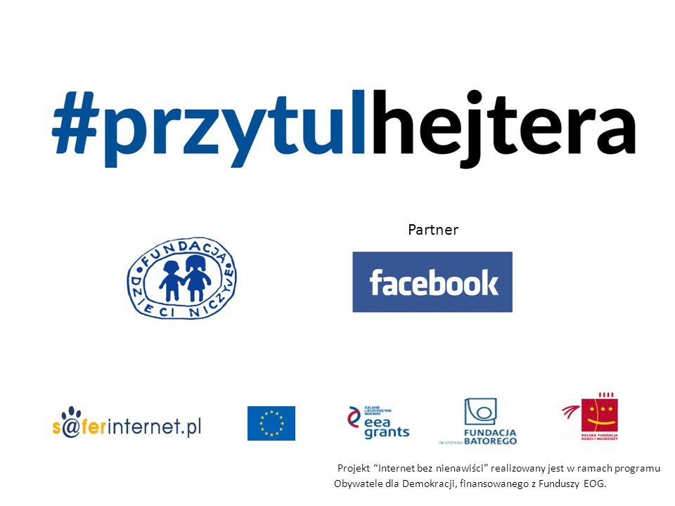 """Partner Projekt """"Internet bez nienawiści"""" realizowany jest w ramach programu Obywatele dla Demokracji, finansowanego z Funduszy EOG."""