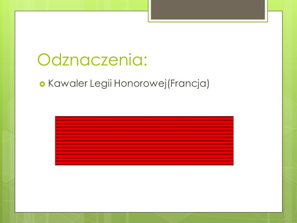 Odznaczenia:  Kawaler Legii Honorowej(Francja)