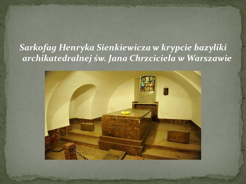 Sarkofag Henryka Sienkiewicza w krypcie bazyliki archikatedralnej św. Jana Chrzciciela w Warszawie