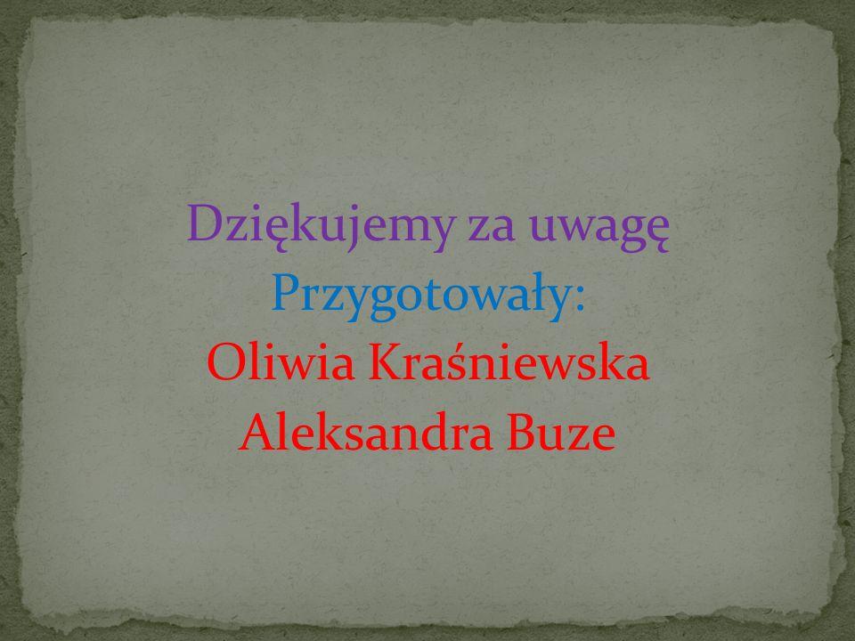 Dziękujemy za uwagę Przygotowały: Oliwia Kraśniewska Aleksandra Buze