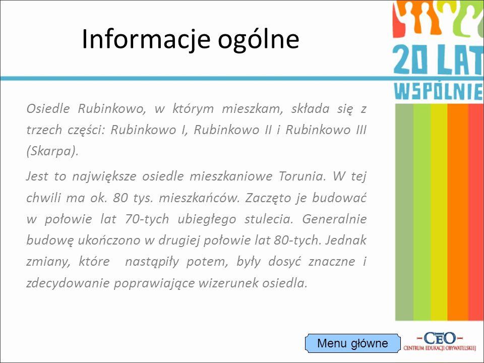 Osiedle Rubinkowo, w którym mieszkam, składa się z trzech części: Rubinkowo I, Rubinkowo II i Rubinkowo III (Skarpa).