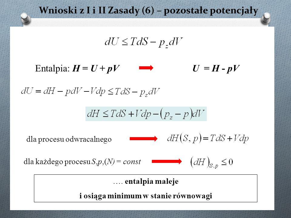 Wnioski z I i II Zasady (6) – pozostałe potencjały dla procesu odwracalnego Entalpia: H = U + pV …. entalpia maleje i osiąga minimum w stanie równowag