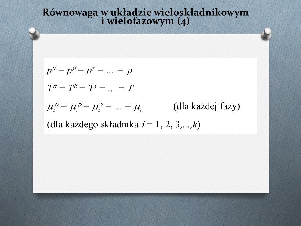Równowaga w układzie wieloskładnikowym i wielofazowym (4) p  = p  = p  =... = p T  = T  = T  =... = T  i  =  i  =  i  =... =  i (dla każd