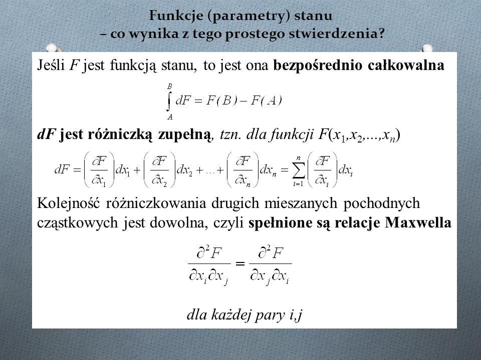 Funkcje (parametry) stanu – co wynika z tego prostego stwierdzenia? Jeśli F jest funkcją stanu, to jest ona bezpośrednio całkowalna dF jest różniczką