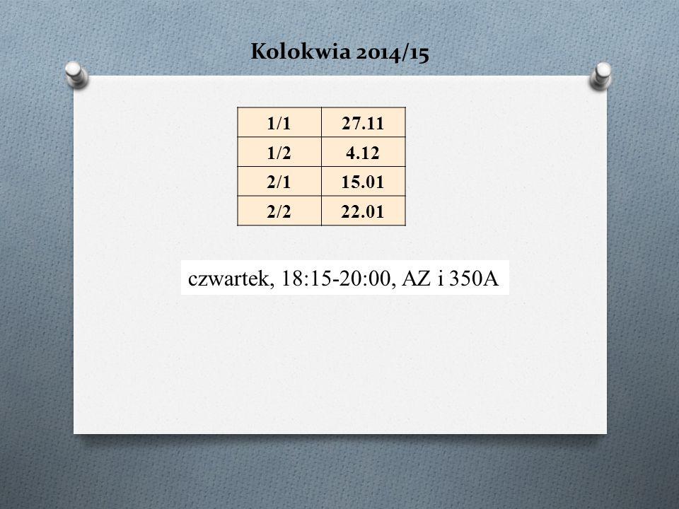 Kolokwia 2014/15 czwartek, 18:15-20:00, AZ i 350A 1/127.11 1/24.12 2/115.01 2/222.01