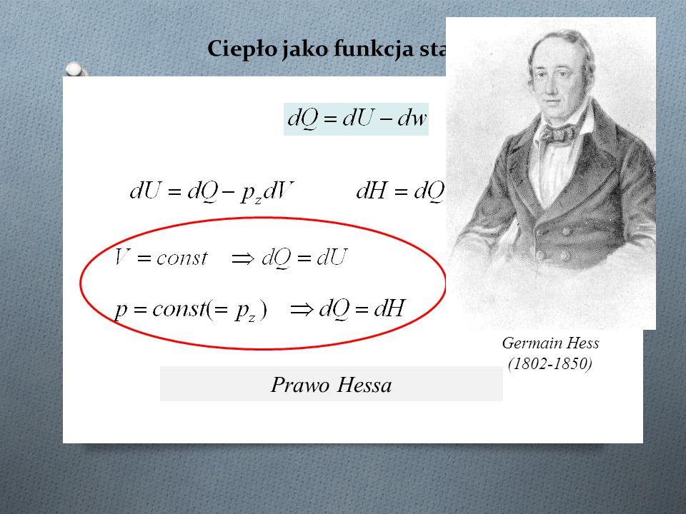 Ciepło jako funkcja stanu Prawo Hessa Germain Hess (1802-1850)