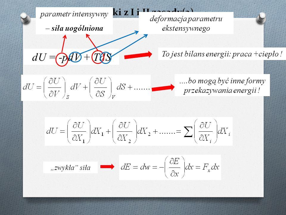 """Wnioski z I i II zasady(2) dU = -pdV + TdS To jest bilans energii: praca +ciepło ! """"zwykła"""" siła ….bo mogą być inne formy przekazywania energii ! para"""