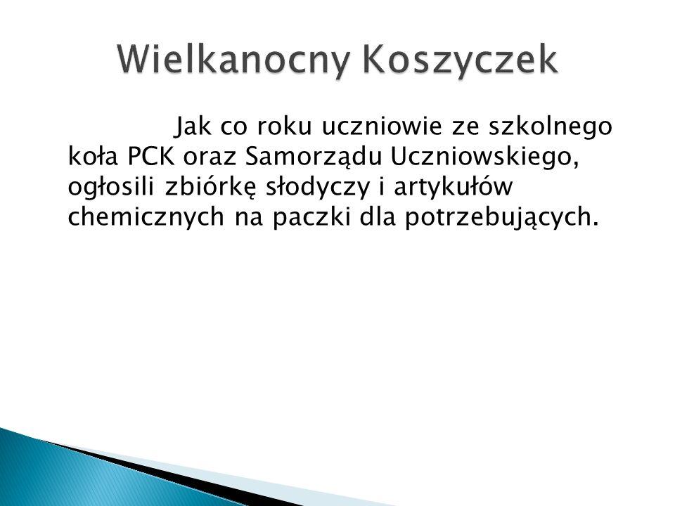 Jak co roku uczniowie ze szkolnego koła PCK oraz Samorządu Uczniowskiego, ogłosili zbiórkę słodyczy i artykułów chemicznych na paczki dla potrzebujących.