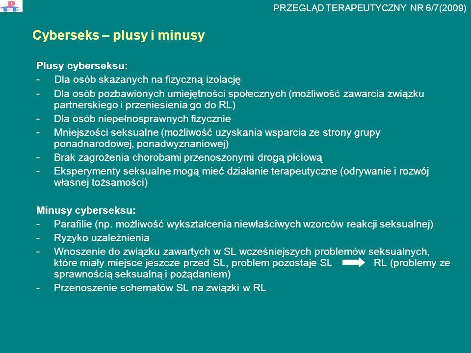 Plusy cyberseksu: - Dla osób skazanych na fizyczną izolację -Dla osób pozbawionych umiejętności społecznych (możliwość zawarcia związku partnerskiego