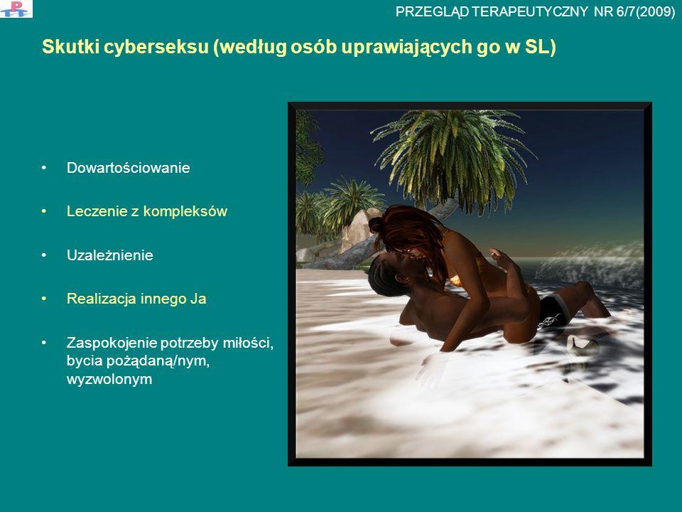 Skutki cyberseksu (według osób uprawiających go w SL) Dowartościowanie Leczenie z kompleksów Uzależnienie Realizacja innego Ja Zaspokojenie potrzeby miłości, bycia pożądaną/nym, wyzwolonym PRZEGLĄD TERAPEUTYCZNY NR 6/7(2009)