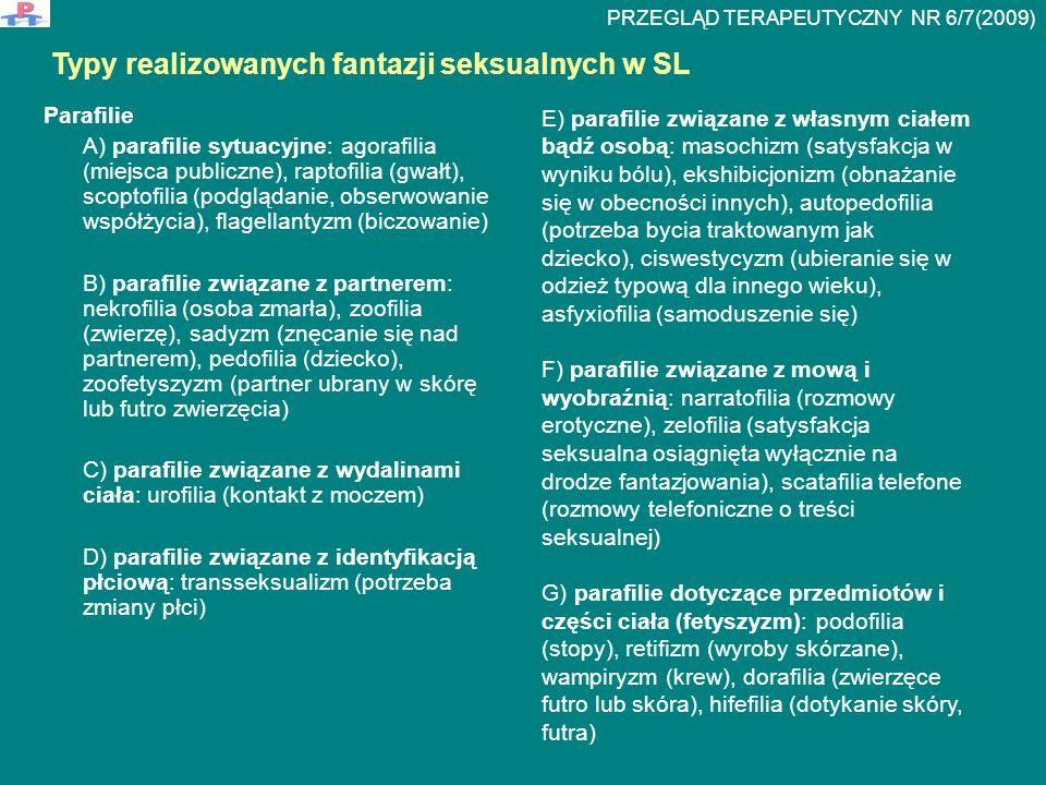 Parafilie A) parafilie sytuacyjne: agorafilia (miejsca publiczne), raptofilia (gwałt), scoptofilia (podglądanie, obserwowanie współżycia), flagellanty