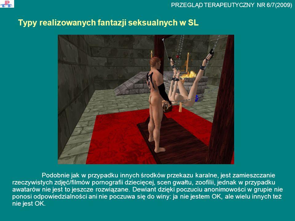 Typy realizowanych fantazji seksualnych w SL Podobnie jak w przypadku innych środków przekazu karalne, jest zamieszczanie rzeczywistych zdjęć/filmów p