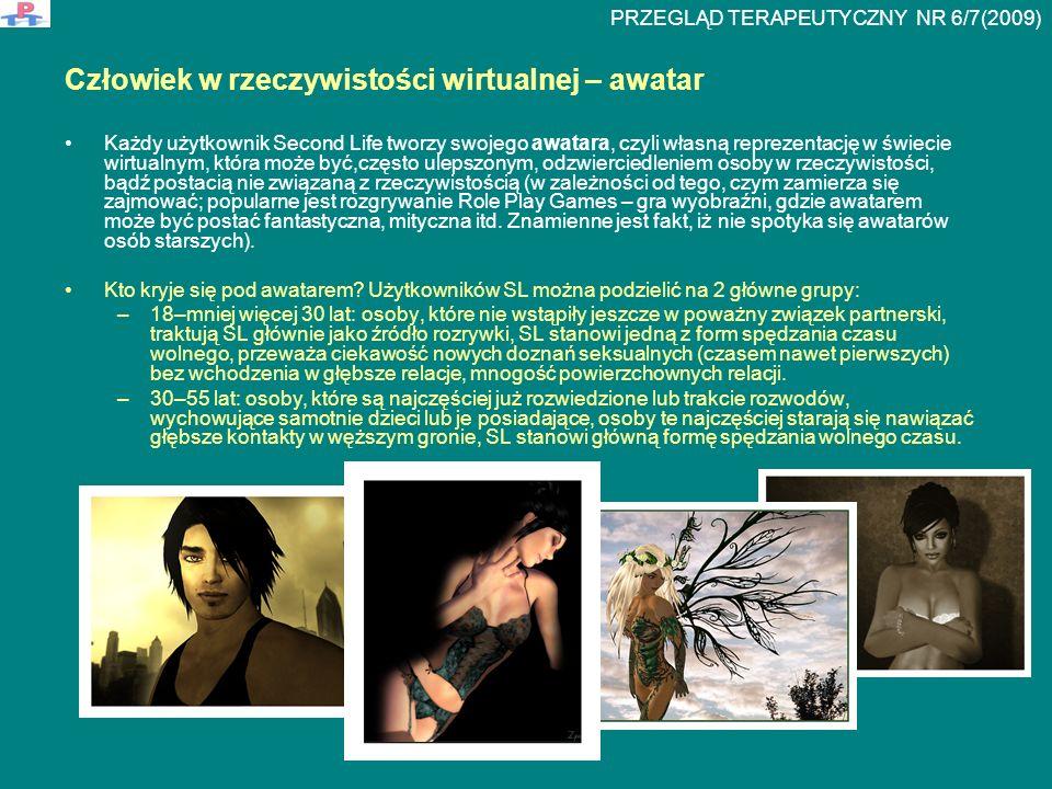 Rozdzielenie Real Life – RL – (rzeczywistość) od Second Life – SL – (rzeczywistość wirtualna) i relacje sklasyfikowane na podstawie tego rozdziału Osoba nie łączy RL z SL-pure character (czysta postać) - nie podaje informacji na temat swojego życia rzeczywistego, które określa jako prywatne - głębokie związki uczuciowe ograniczające się tylko do sieci.
