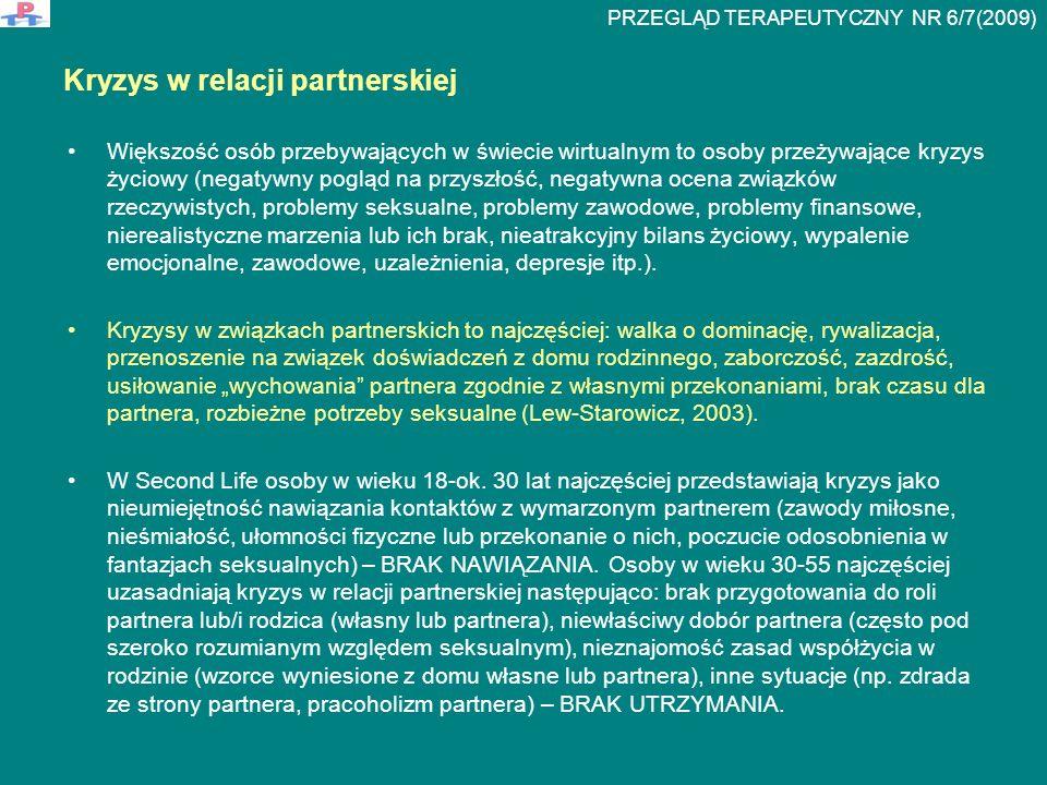 Typologia relacji erotycznych w rzeczywistości wirtualnej (Lew-Starowicz, 2003) Ludyczna: seks jako zabawa, gra, przygoda; Role Play Games (odgrywanie roli konkretnej osoby, nie siebie), zaspokojenie potrzeby ciekawości, sprawdzenie swoich uwodzicielskich możliwości.