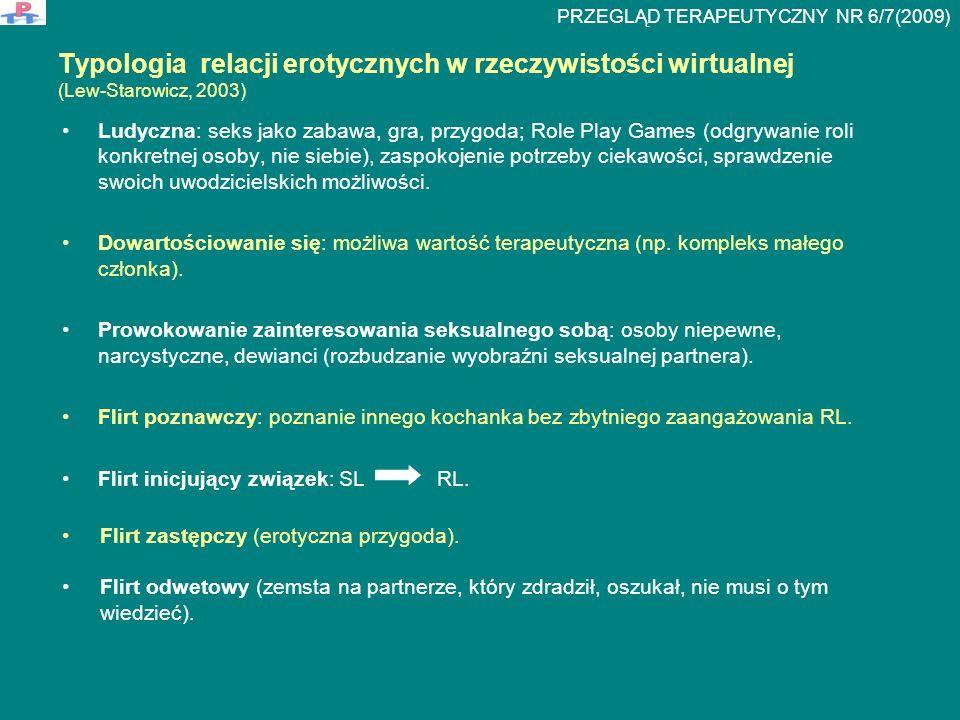 Parafilie A) parafilie sytuacyjne: agorafilia (miejsca publiczne), raptofilia (gwałt), scoptofilia (podglądanie, obserwowanie współżycia), flagellantyzm (biczowanie) B) parafilie związane z partnerem: nekrofilia (osoba zmarła), zoofilia (zwierzę), sadyzm (znęcanie się nad partnerem), pedofilia (dziecko), zoofetyszyzm (partner ubrany w skórę lub futro zwierzęcia) C) parafilie związane z wydalinami ciała: urofilia (kontakt z moczem) D) parafilie związane z identyfikacją płciową: transseksualizm (potrzeba zmiany płci) Typy realizowanych fantazji seksualnych w SL E) parafilie związane z własnym ciałem bądź osobą: masochizm (satysfakcja w wyniku bólu), ekshibicjonizm (obnażanie się w obecności innych), autopedofilia (potrzeba bycia traktowanym jak dziecko), ciswestycyzm (ubieranie się w odzież typową dla innego wieku), asfyxiofilia (samoduszenie się) F) parafilie związane z mową i wyobraźnią: narratofilia (rozmowy erotyczne), zelofilia (satysfakcja seksualna osiągnięta wyłącznie na drodze fantazjowania), scatafilia telefone (rozmowy telefoniczne o treści seksualnej) G) parafilie dotyczące przedmiotów i części ciała (fetyszyzm): podofilia (stopy), retifizm (wyroby skórzane), wampiryzm (krew), dorafilia (zwierzęce futro lub skóra), hifefilia (dotykanie skóry, futra) PRZEGLĄD TERAPEUTYCZNY NR 6/7(2009)