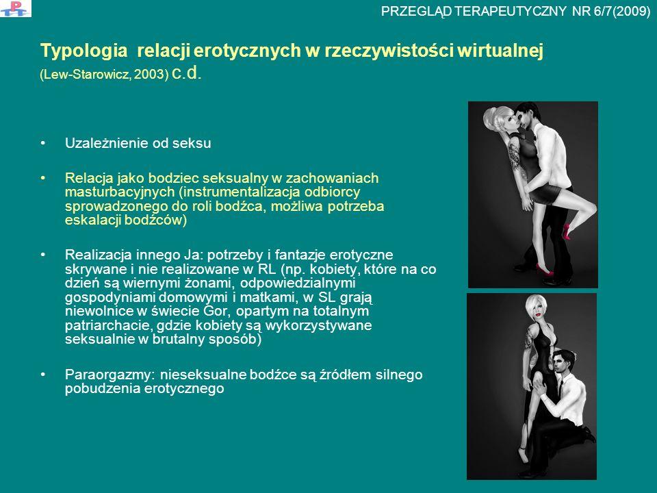 Typologia relacji erotycznych w rzeczywistości wirtualnej (Lew-Starowicz, 2003) c.d. Uzależnienie od seksu Relacja jako bodziec seksualny w zachowania