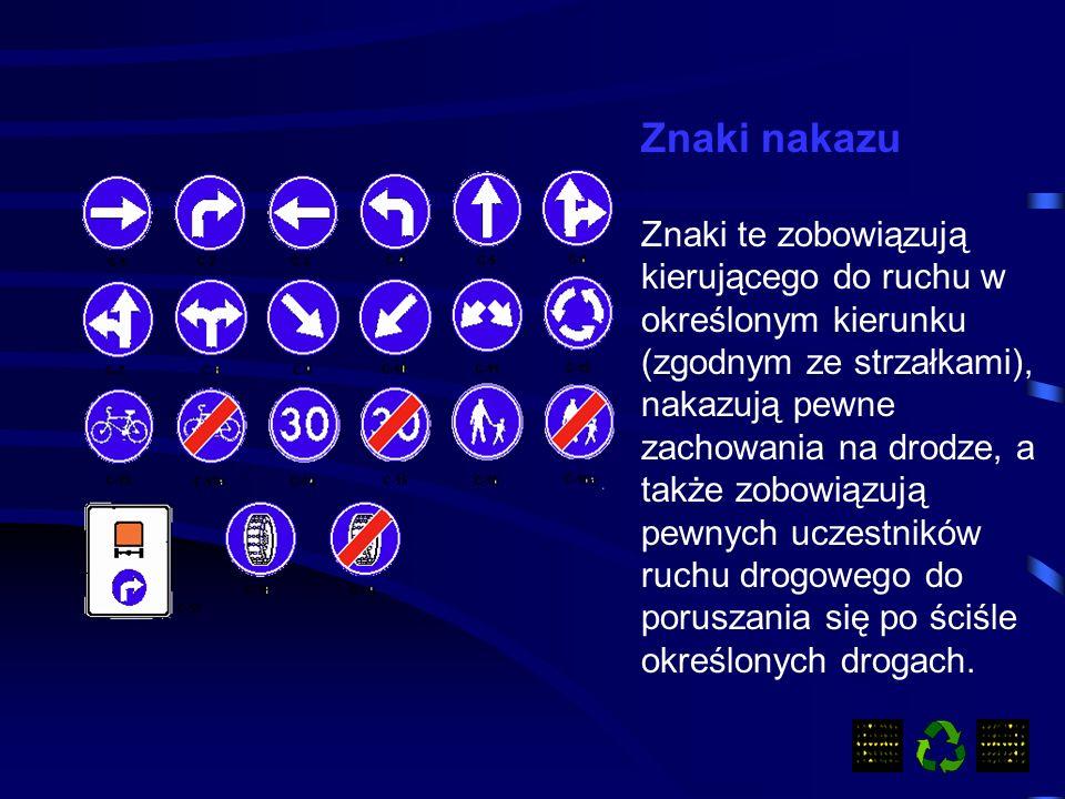 Znaki ostrzegawcze Uprzedzają o miejscach na drodze, w których występuje lub może występować niebezpieczeństwo, oraz zobowiązują uczestników ruchu do zachowania szczególnej Ostrożności.