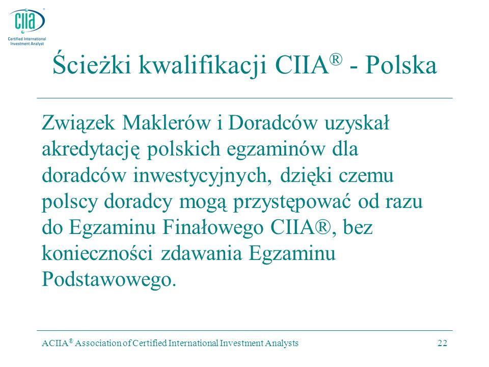 ACIIA ® Association of Certified International Investment Analysts22 Ścieżki kwalifikacji CIIA ® - Polska Związek Maklerów i Doradców uzyskał akredytację polskich egzaminów dla doradców inwestycyjnych, dzięki czemu polscy doradcy mogą przystępować od razu do Egzaminu Finałowego CIIA®, bez konieczności zdawania Egzaminu Podstawowego.